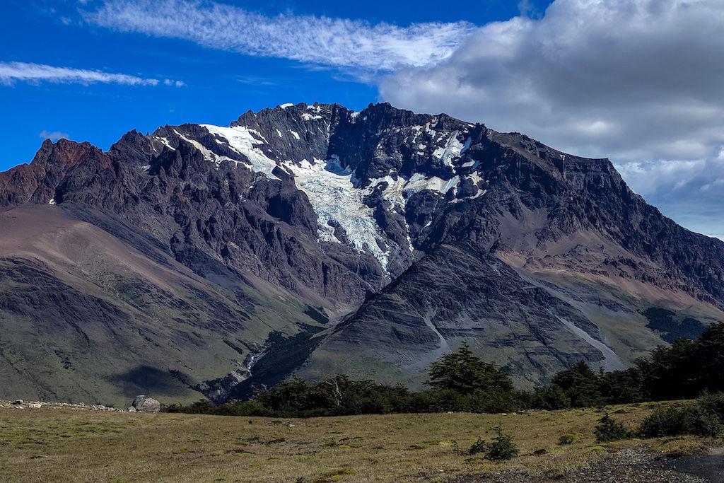 A landscape shot of Cerro Huemul outside of El Chalten, Argentina on the Huemul Circuit trek