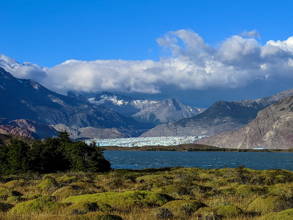 Viedma Bay and Viedma Glacier against a backdrop of a distant mountain range