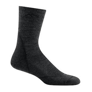 A black and grey ultralight backpacking sock
