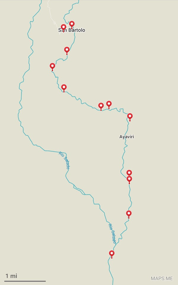 Maps.me waypoints of a trek to San Bartolo, Atacama, Chile