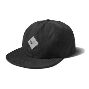 Black breathable athletic hat with reflective logo