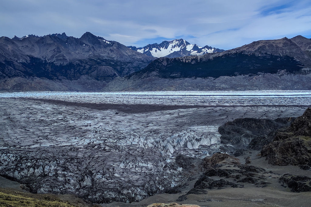 Landscape view of the South Patagonian Ice Fields with a backdrop of a distant mountain range