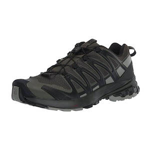 Black and grey hiking, backpacking, and trail running shoe