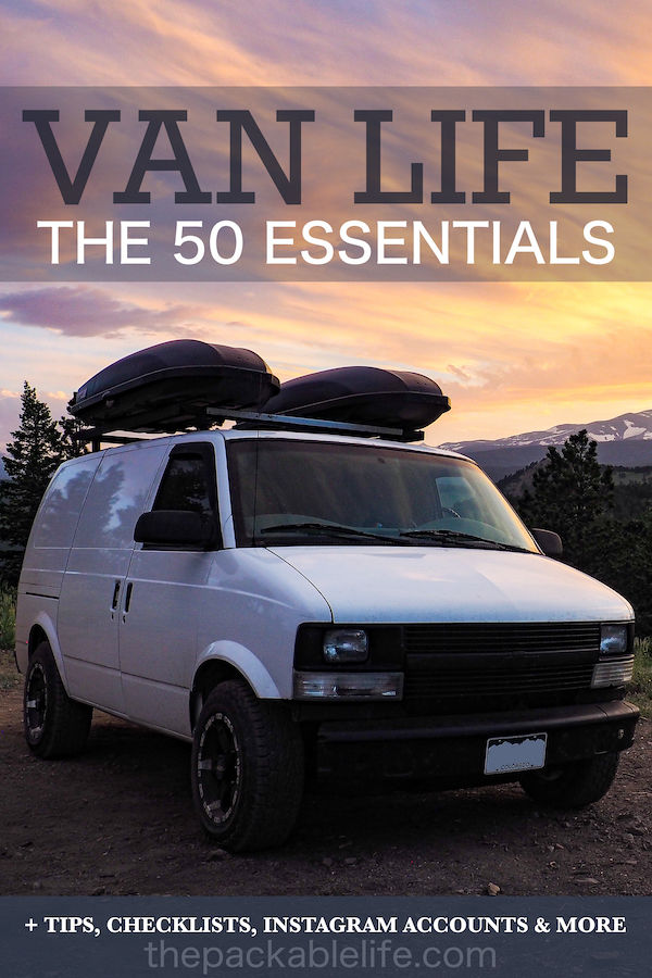 """A camper van with a sunset in the background with a title that says """"Van Life: The 50 Essentials"""""""