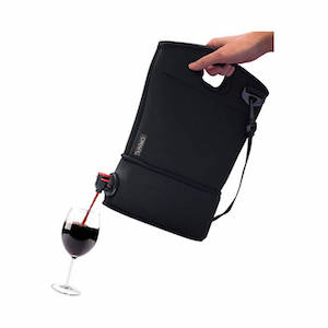 Black beverage bag pouring red wine into a wine glass