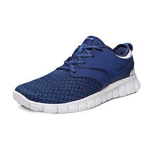 A blue knit running shoe