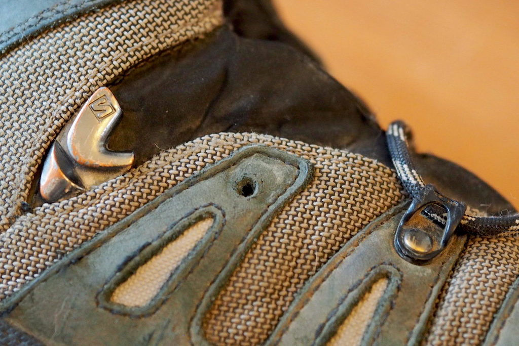 Closeup of a broken eyelet on the Salomon Quest 4D 3 GTX backpacking boot
