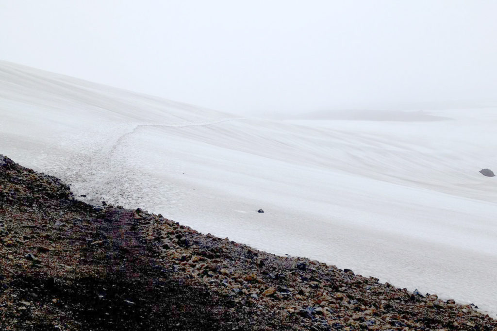 A faint trail over a field of snow against a white sky on the Laugavegurinn Trek in Iceland