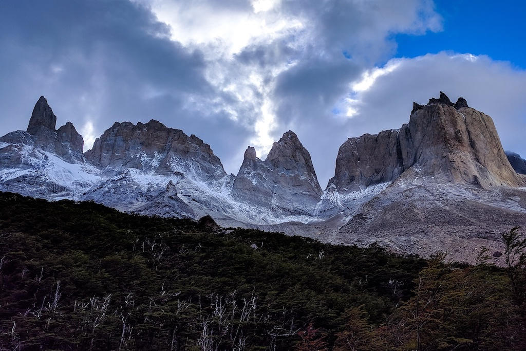 View of Torres del Paine from Mirador Britanico