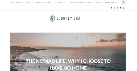 A screen shot of JourneyEra.com