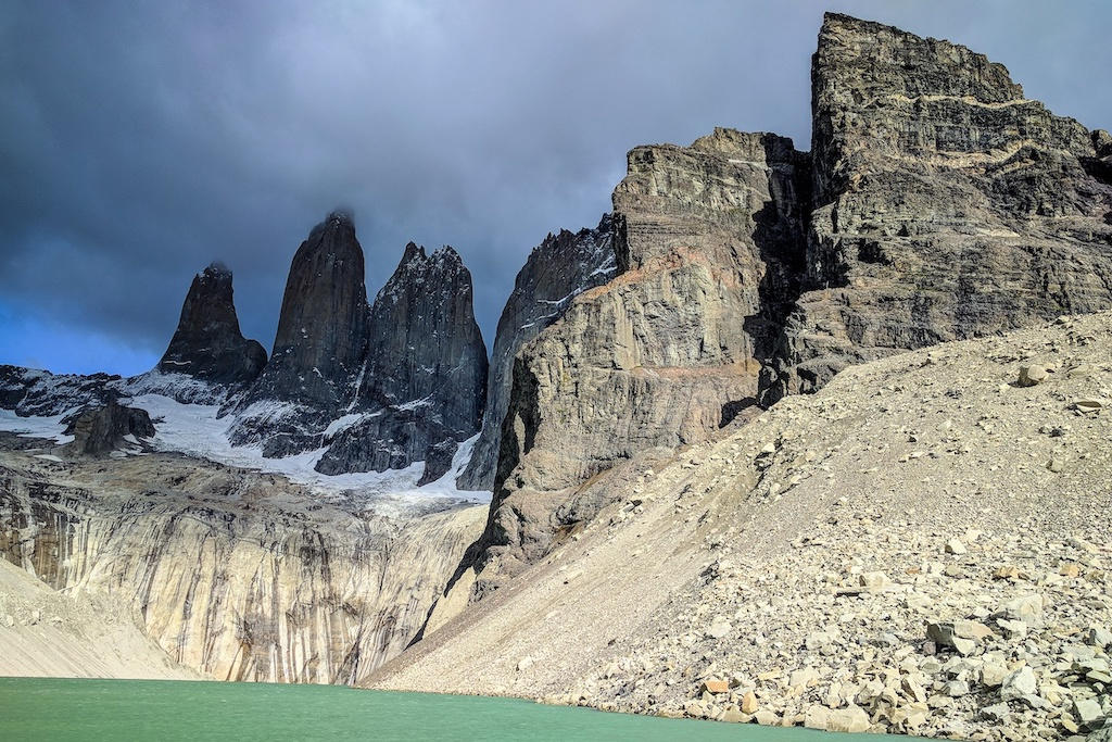 Views of Torres del Paine's famous granite towers on the 'O' Circuit trek in Patagonia