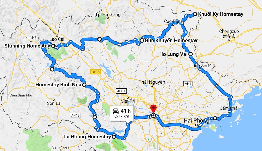 Map of a motorbike loop route around Northern Vietnam