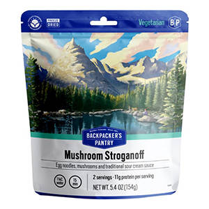 Mushroom stroganoff backpacking meal pouch