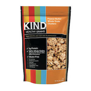 A bag of KIND brand peanut butter granola for hiking