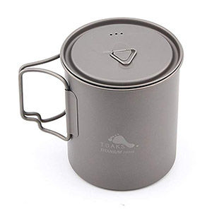 A titanium camping pot for cooking easy meals