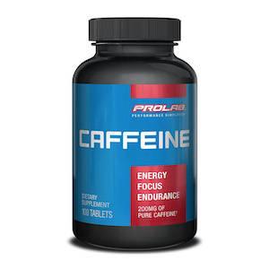 A plastic bottle of caffeine pills