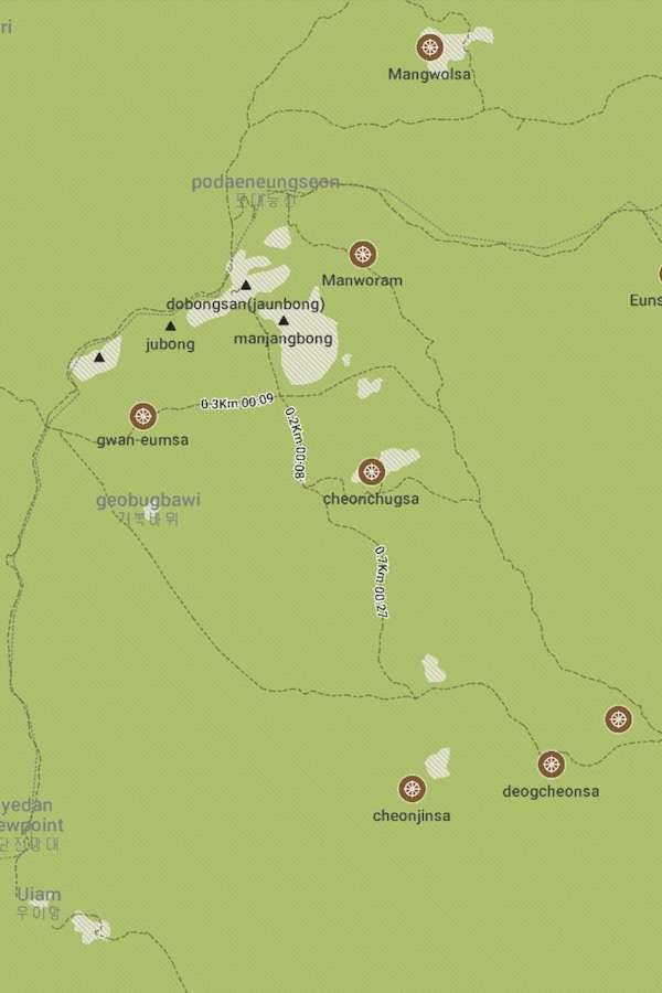 Trail map of Mount Dobongson in Bukhansan National Park