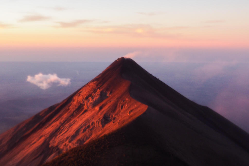 A volcano peak at sunrise