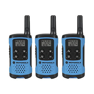 Three blue walkie talkies for hiking, hunting, and backpacking