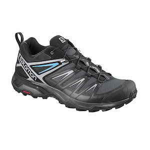 Black, grey, and blue trail running shoes