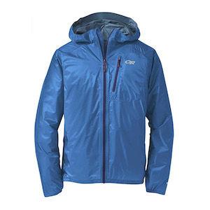 A blue minimalist rain jacket