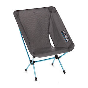 A black collapsible camping chair