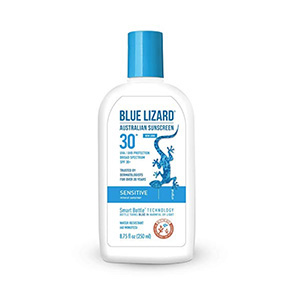 A white bottle of Blue Lizard sunscreen