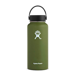 A green double walled vacuum-sealed thermos