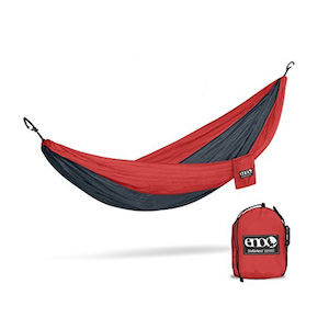 A red and black two person hammock
