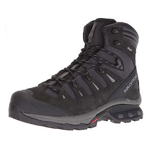 A black and grey hiking boot
