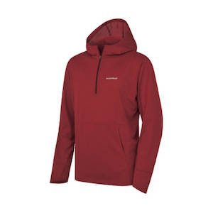 A dark red Montbell hoodie
