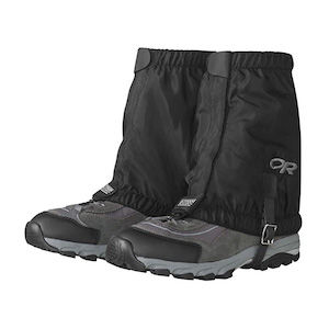 Black waterproof gaiters for hiking shoes and boots