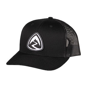 A black mesh back trucker hat with the Zpacks logo