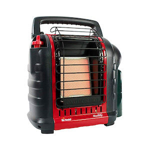 Red propane heater for living in cars, vans, RVs, boats, and other vehicles full-time