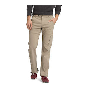 The lower half of a model wearing khaki pants