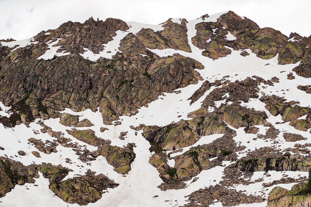 Mountain peaks covered in snow in White River National Forest