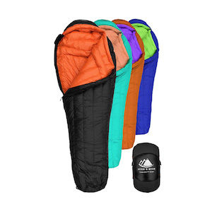 Four sleeping bags: black, green, red, and blue