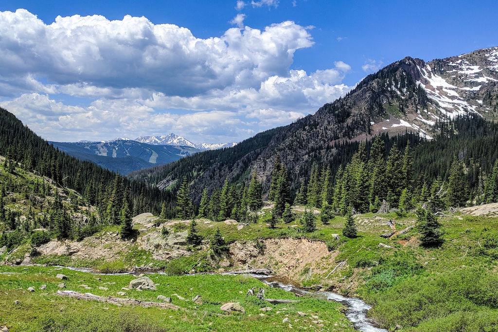A small stream running towards mountains on a blue sky day in White River National Forest