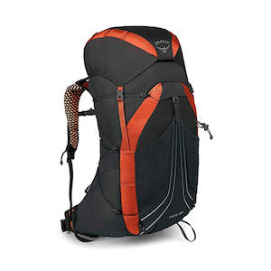 A red and black backpacking backpack