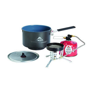 A camping stove, 2.5 liter pot, and canister of fuel