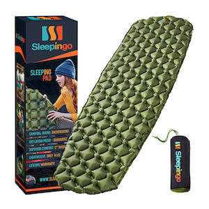 A Sleepingo brand sleeping pad with a product box next to it