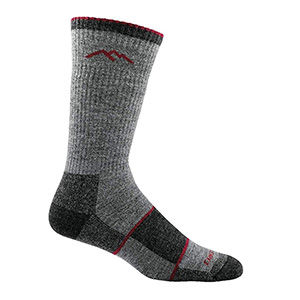 A grey and black Merino wool hiking sock