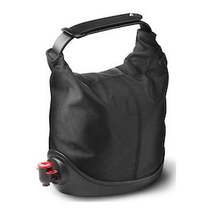 A black tote bag for carrying wine