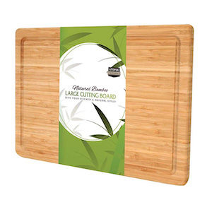 A wooden cutting board