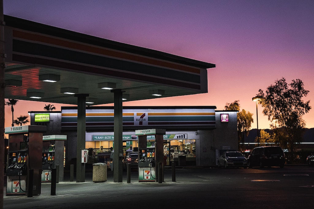 A 7-11 convenience store at dusk