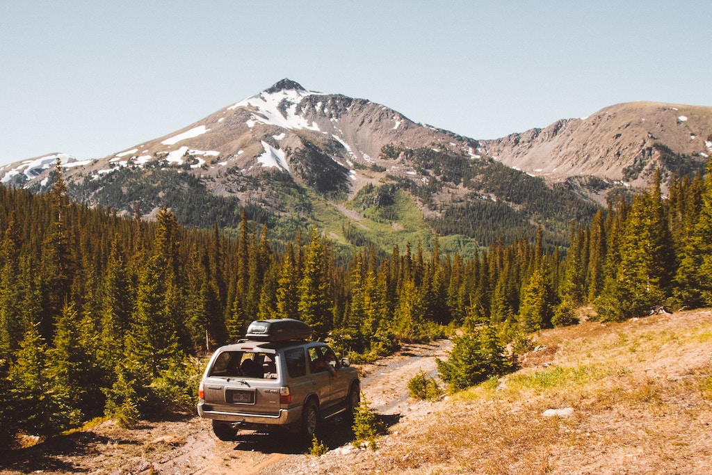 A 4Runner driving down a mountain trail near Buena Vista, Colorado