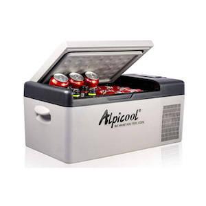 A grey 12-volt fridge/freezer combo