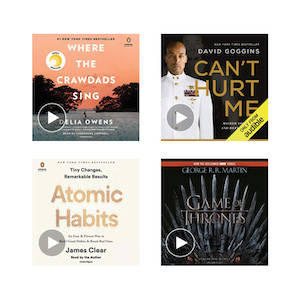 Four different covers of audiobooks