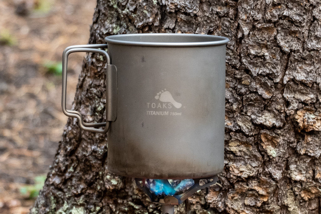 Titanium pot for cooking while backpacking