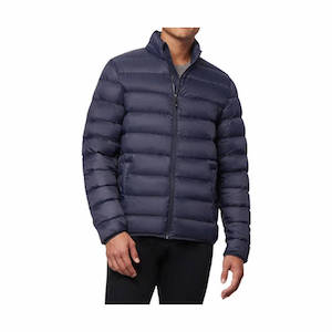 Blue puffy jacket for ultralight backpacking